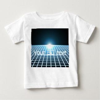 カスタマイズ可能な文字との白熱[赤熱]光を放つな3D格子 ベビーTシャツ