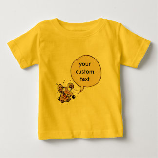 カスタマイズ可能な文字のスピーチの泡を持つおもしろいなマウス ベビーTシャツ