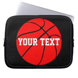 カスタマイズ可能な文字の赤いバスケットボールのラップトップスリーブ ラップトップスリーブ