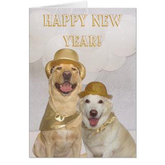 カスタマイズ可能な明けましておめでとう実験室か犬 カード