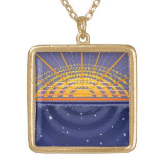 カスタマイズ可能な明るい宇宙| ゴールドプレートネックレス