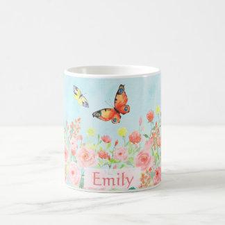 カスタマイズ可能な春のバラの蝶水彩画 コーヒーマグカップ