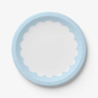 カスタマイズ可能な淡いブルーの帆立貝- ペーパープレート