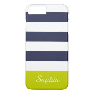 カスタマイズ可能な濃紺のライムは縞で飾ります iPhone 8 PLUS/7 PLUSケース