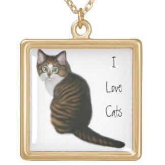 カスタマイズ可能な猫好きのネックレス ゴールドプレートネックレス