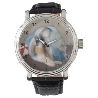 カスタマイズ可能な球を持つシーズー(犬)のTzu犬 腕時計