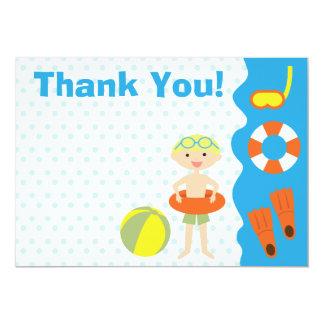 カスタマイズ可能な男の子のプールを囲んでのパーティの誕生日は感謝していしています カード