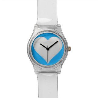 カスタマイズ可能な白いガラスハート 腕時計