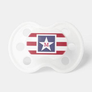 カスタマイズ可能な米国の旗のモノグラム おしゃぶり