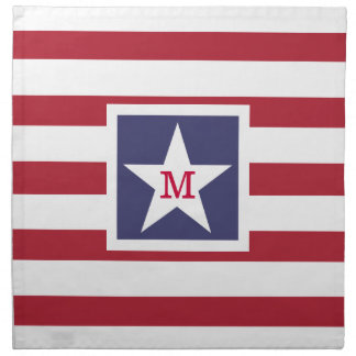 カスタマイズ可能な米国の旗のモノグラム ナプキンクロス