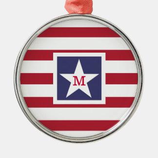 カスタマイズ可能な米国の旗のモノグラム メタルオーナメント