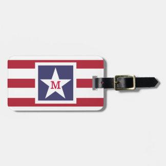カスタマイズ可能な米国の旗のモノグラム ラゲッジタグ