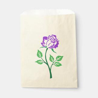 カスタマイズ可能な紫色のバラ フェイバーバッグ