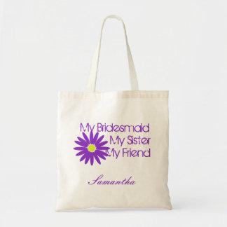 カスタマイズ可能な紫色のヒナギク トートバッグ