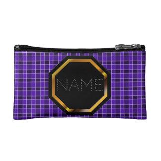カスタマイズ可能な紫色の格子縞の化粧品のバッグ コスメティックバッグ