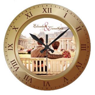 カスタマイズ可能な結婚記念日の青銅の写真 ラージ壁時計