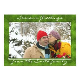 カスタマイズ可能な緑の休日の写真フレームカード カード