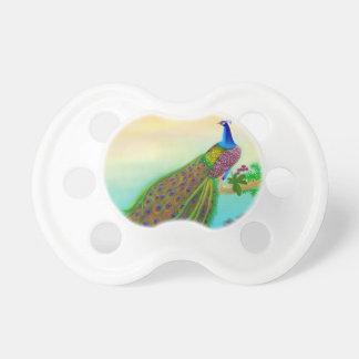 カスタマイズ可能な緑の孔雀のベビーの調停者 おしゃぶり