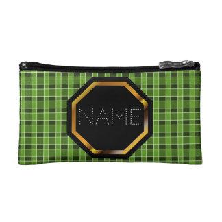 カスタマイズ可能な緑の格子縞の化粧品のバッグ コスメティックバッグ