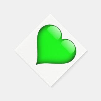 カスタマイズ可能な緑ガラスのハート スタンダードカクテルナプキン