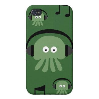 カスタマイズ可能な緑DJのくらげ及び音符 iPhone 4/4Sケース