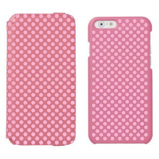 カスタマイズ可能な背景が付いているピンクの水玉模様 INCIPIO WATSON™ iPhone 5 財布型ケース