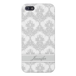 カスタマイズ可能な薄い灰色のダマスク織 iPhone 5 CASE