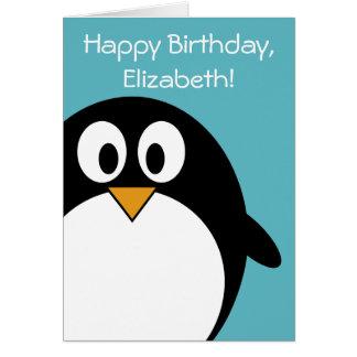 カスタマイズ可能な誕生日のペンギン グリーティングカード