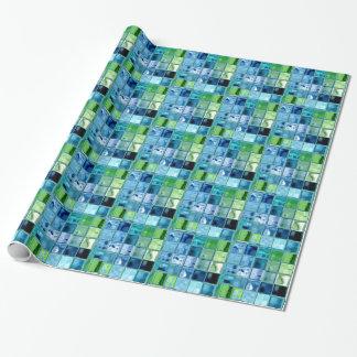 カスタマイズ可能な質紙の海のティール(緑がかった色)のタイルの芸術 ラッピングペーパー