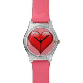 カスタマイズ可能な赤いガラスハート 腕時計
