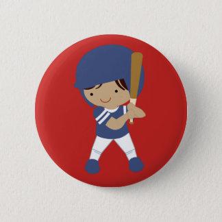 カスタマイズ可能な赤いボタンの野球選手 5.7CM 丸型バッジ