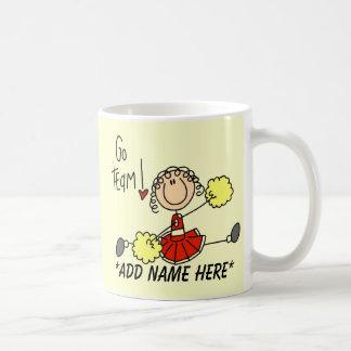 カスタマイズ可能な赤および金ゴールドのチアリーダーのマグ コーヒーマグカップ