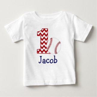 カスタマイズ可能な野球の最初誕生日のワイシャツ1年 ベビーTシャツ