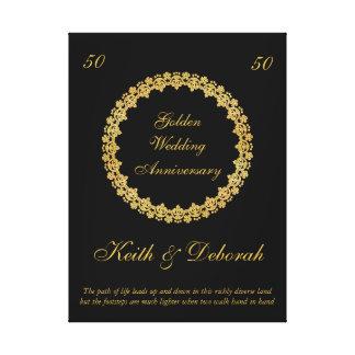 カスタマイズ可能な金結婚記念日 キャンバスプリント