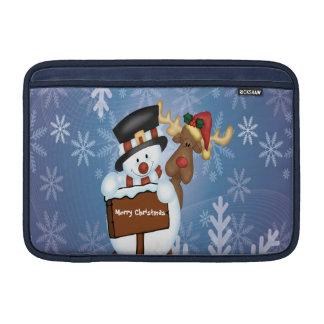 カスタマイズ可能な雪だるま及びトナカイ MacBook スリーブ