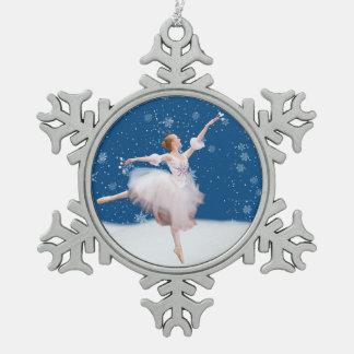 カスタマイズ可能な雪の女王のバレリーナ スノーフレークピューターオーナメント