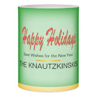 カスタマイズ可能な雪片の赤いリボンの幸せな休日 LEDキャンドル