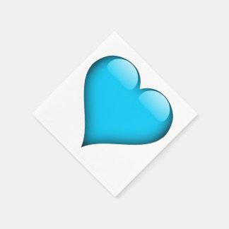カスタマイズ可能な青いガラスハート スタンダードカクテルナプキン