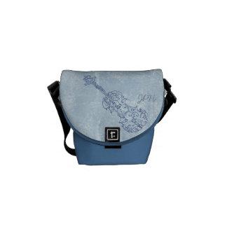 カスタマイズ可能な青いバイオリンライン引くこと メッセンジャーバッグ