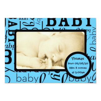 カスタマイズ可能な青色児の写真の発表カード カード