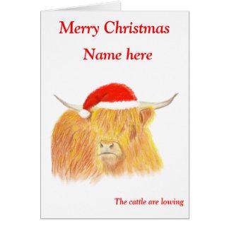 カスタマイズ可能な高地牛クリスマスカード カード