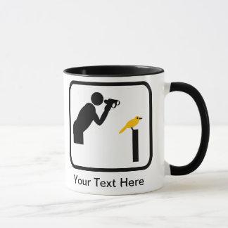 カスタマイズ可能な鳥類捕獲人/鳥監視人のロゴ マグカップ