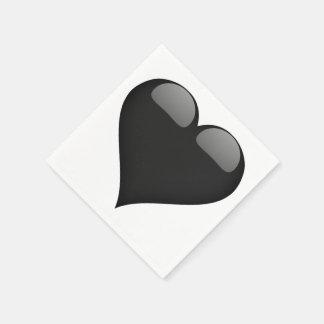 カスタマイズ可能な黒いガラスハート スタンダードカクテルナプキン
