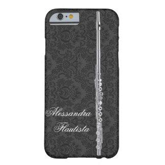 カスタマイズ可能な黒いダマスク織の効果の銀製のフルート BARELY THERE iPhone 6 ケース