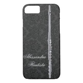 カスタマイズ可能な黒いダマスク織の効果の銀製のフルート iPhone 8/7ケース