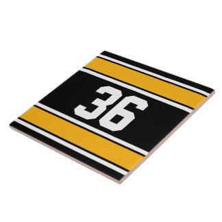 カスタマイズ可能な黒および金ゴールドのスポーツは縞で飾ります タイル