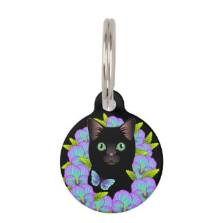 カスタマイズ可能な黒猫のラベル-甘い子猫の付属品 ペット ネームタグ