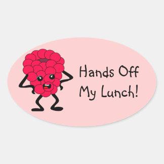 """カスタマイズ可能な""""私の昼食を離れた手""""のラズベリー 楕円形シール"""