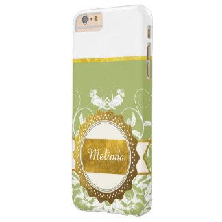 カスタマイズ可能なGlodenとの緑および白い植物 Barely There iPhone 6 Plus ケース