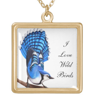 カスタマイズ可能なI愛鳥のアオカケスのネックレス ゴールドプレートネックレス